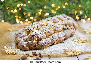 (vanocka), checo, tradicional, navidad, trenzado, bread