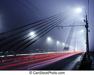 Vansu Bridge lights in fog ,Riga