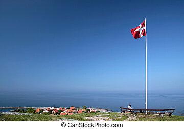 Vantage point above Gudhjem on Bornholm, Denmark