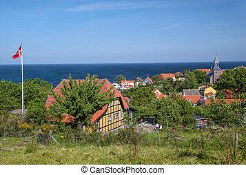 Vantage point above Gudhjem on Bornholm, Denmark with sea ...