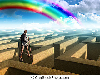 Smart businessman trying to find a labyrinth exit. Mixed media illustration.