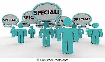 vantaggio, illustrazione, discorso, competitivo, bolle, unico, speciale, 3d