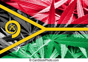 Vanuatu Flag on cannabis background. Drug policy. ...