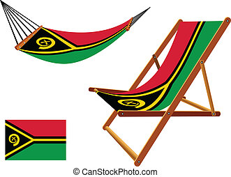 vanuatu hammock and deck chair set against white background,...