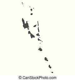 Vanuatu vector map. Black icon on white background.