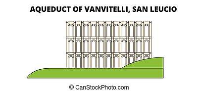 vanvitelli, lineáris, vízvezeték, utazás, vektor, határkő, leucio, szanatórium, design., egyenes, láthatár, illustration.