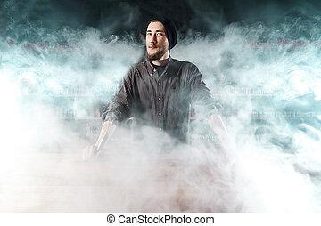 vape, bár, (shop)., vaping, ember, van, dohányzó, e-cigarette., egy, felhő, közül, vapor.