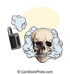 vape, cráneo, humo, venida, dispositivo, vaping, fleshless, ...