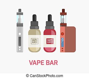 Vape device set. Vaping juice for vape. Vape trend new...