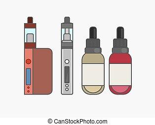 Vape device vector set. Vaping juice for vape. Vape trend new culture. Vape smoking. Vapor vaping. Vape vector sign.