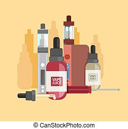 Vape device vector set. Vaping juice for vape. Vape trend...