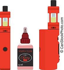 Vape devices set. Vaping cherry juice in bottle. Flat style.