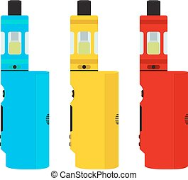 Vape devices set. Vaping culture, smoking. Vapor vaping. Flat design.