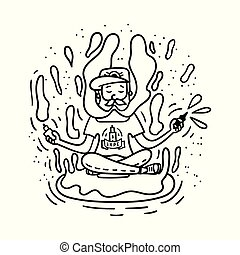 Vape doodle style illustration. Vaping hipster with beard on the donut.