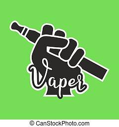 Vape Icon. Hand Holding E-cigarette. Vaping Symbol On Bright Background. Vaporize Pen Device In A . Vector Illustration.