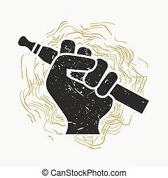 Vape Icon. Hand Holding E-cigarette. Vaping Symbol On Retro Grunge Background. Vaporize Pen Device In A . Vector Illustration.