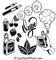 Vape Icon Set - Black and isolated vape icon set with ...