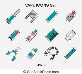Vape icons set on a white background. Can be used for ...
