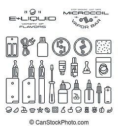 Vape labels, e-cigarette and fruit flavor icons in thin line...