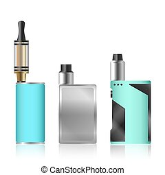 Vape Mod Set. Electronic Cigarette With Juice. Colorful Vector Vaporize Device  Liquid Bottles On White Background. Trend New Culture. Illustration.
