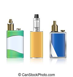 Vape Mod Set. Electronic Cigarette With Juice. Colorful ...