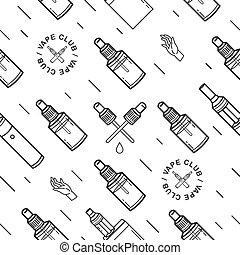 vape, seamless, pattern., 外形, 背景, 由于, e-cigarettes.
