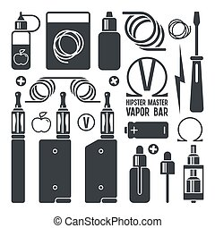 Vape shop and e-cigarette icons. Isolated on white ...