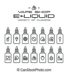 Vape shop e-liquid flavors icons set in thin line style. ...
