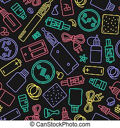 Vape shop seamless pattern in thin line style. Color print ...
