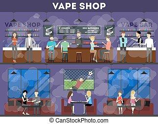 Vape shop set.