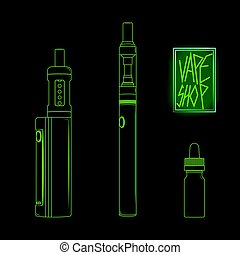 Vape shop set neon vector - Vape shop set e-cigarette vector...