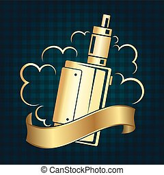 Vape shop symbol - Vape shop golden symbol for business