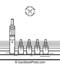 Vape smoking device. Illustration with e-cigarette and vaping juice.