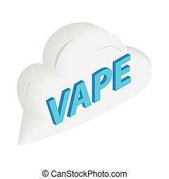 Vape word cloud icon, isometric 3d style