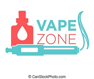 Vape zone start vaping logo isolated on white. Vape e-...