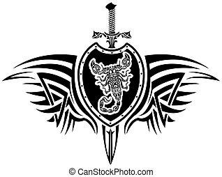 vapen, med, a, skorpion