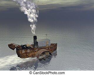 vapeur, -, bateau, render, 3d