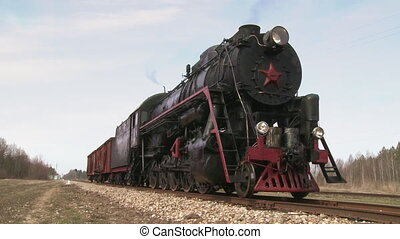 vapeur, debout, train