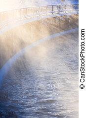 vapeur eau, éclairé, lumière soleil
