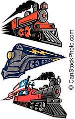 vapeur, locomotive, mascotte, collection, vendange