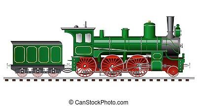 vapeur, tendre, locomotive, vert