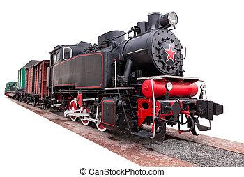 vapeur, vendange, train, grand