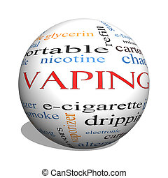 Vaping 3D sphere Word Cloud Concept with great terms such as...