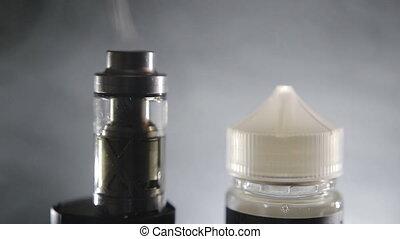 Vaping accessories, close up - Vape concept. E-cigarette and...