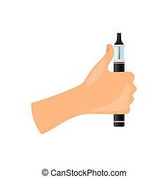 Vaping advertising concept. Cartoon hand holding vape.