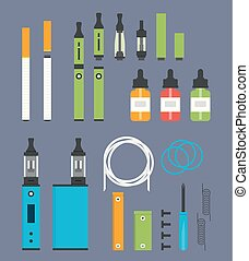 Vaping colored flat design set