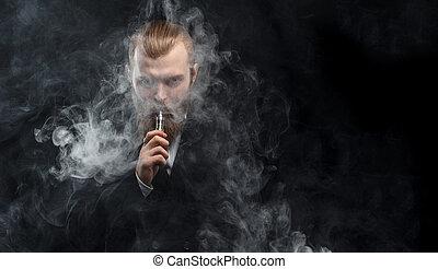 vaping, ember, birtok, egy, mod., egy, felhő, közül, vapor.,...