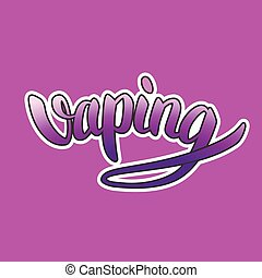 Vaping hand-drawn lettering purple gradient with white outline on violet background