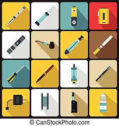 Vaping icons set, flat style - Vaping icons set in flat ...