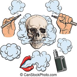 Vaping related elements, symbols - smoke, skull, vaporizer, e-cigarette, sketch vector illustration isolated on white background. Vaping - hand holding e-cigarette, vaporizer, smoking lips, skull